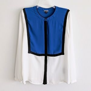 Dana Buchman Color Block Button Down Blouse